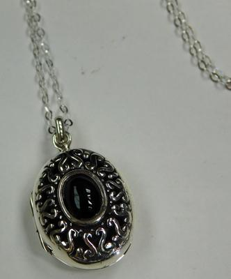 Silver and Jet locket on silver chain