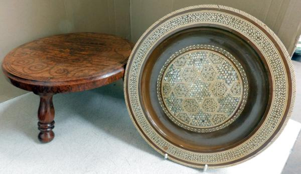 Detailed inlaid plate (approx. 11 inch diameter) & inlaid top foot stool (diameter approx. 12 inches)