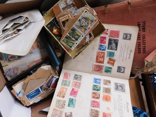 Interesting box of stamps, albums, earlier material etc.