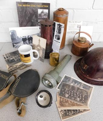 Large collection of vintage mining items incl torch, helmet, copper items, photos etc.