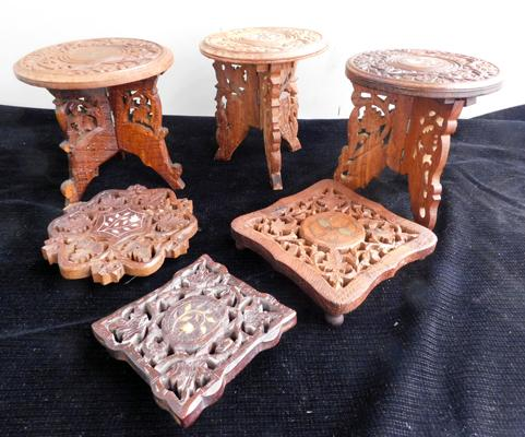 3 x small hand carved inlaid tables (approx. 7inches) & 3 x carved pot stands
