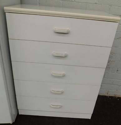 Five drawer white chest, approx. 40 x 30 x 16 inches