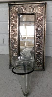 White metal mounted elephant mirror with glass holder