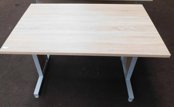 "Beech coloured modern style desk with grey metal base approx 47"" long"