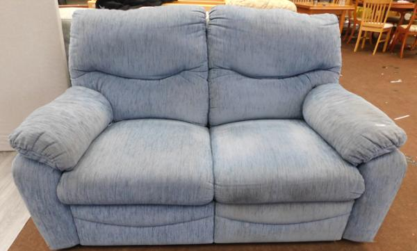 Blue 2 seater reclining settee