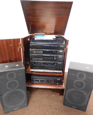 Philips separates & 5 disc multi-changer + speakers, turntable, FM/AM digital tuner, stereo amp, double cassette deck