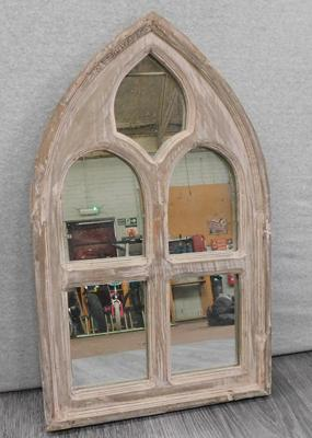 "Rustic style arched mirror approx 20"" tall"