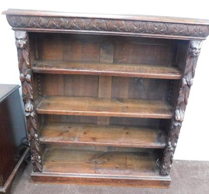 "Vintage carved fronted oak bookcase approx 46"" tall"