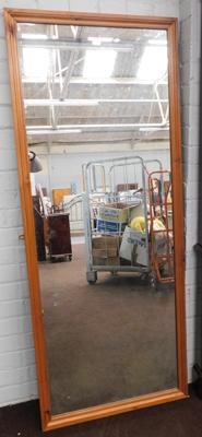 "Large wooden framed mirror - approx. 28"" x 69"""