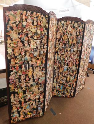 Wooden carved room divider, decoupage to one side & velvet to reverse, 4 panels
