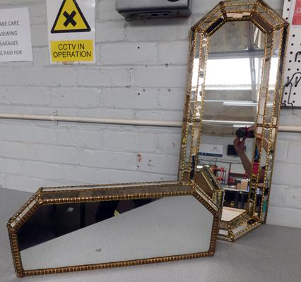 Pair of brass detailed mirrors, one free standing, one wall hanging (approx. 32 inches)