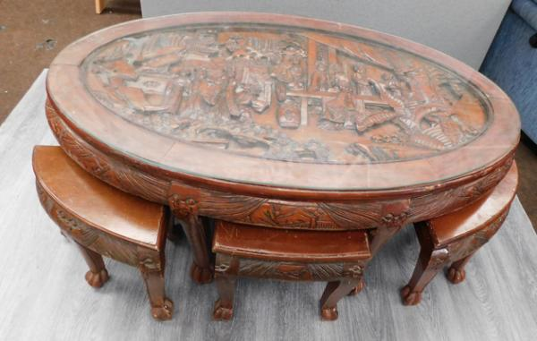 Vintage carved oriental style glass topped table & stool set, requires a little attention