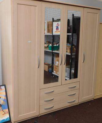 Large double mirrored wardrobe with drawers, approx. 6 feet 6 inches x 6 feet x 2 feet - will need dismantling prior to collection/delivery