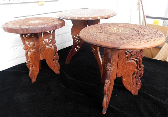 3 x wooden carved tables, with inlaid detailed tops (tallest approx. 14 inches)
