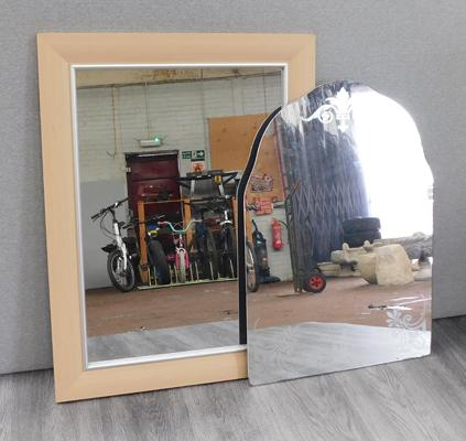 2x Mirrors-1 etched & 1 framed