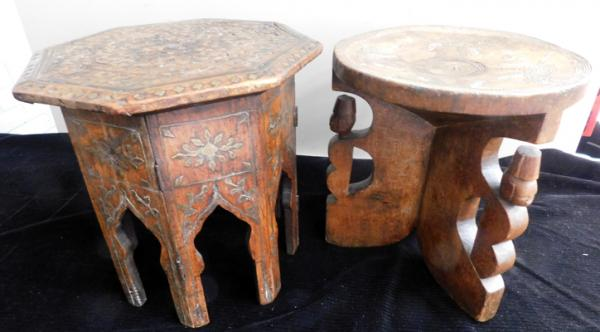 Wooden carved, brass inlaid table & wooden carved seat (tallest, approx. 11 inches)