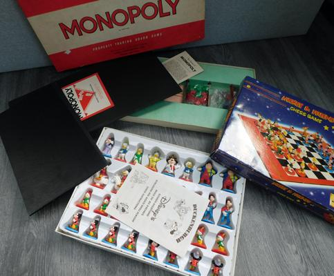 Two board games original Monopoly & Mickey Mouse chess set, complete