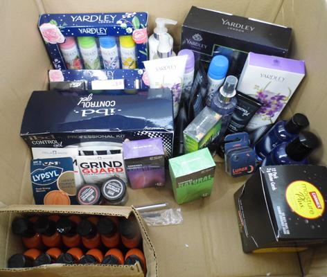 Box of assorted hair care products