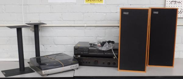Rotel amp, Technics CD player, Aiwa deck, Ditton speaker 15XR & stands