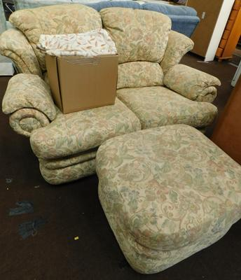 2 seater G-Plan settee & large pouffe + full set of fitted covers