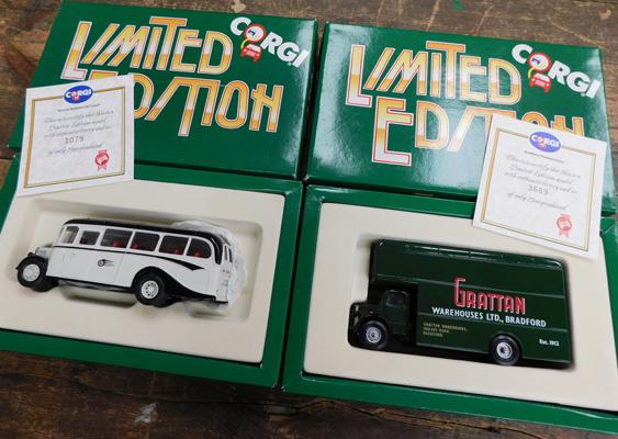 Corgi ltd. edition Bronte Bedford OB Coach with certificate and Grattans Pantechnician with certificate