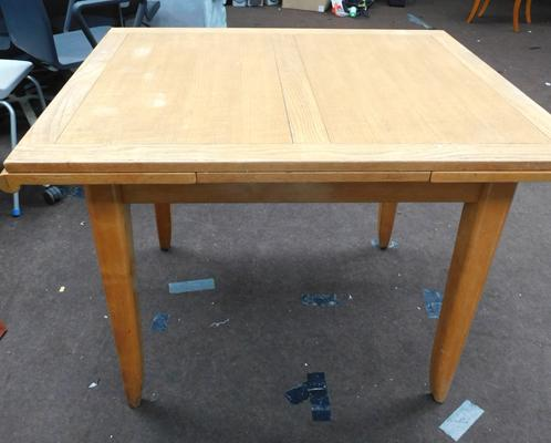 Square solid wood extendable table& three chairs