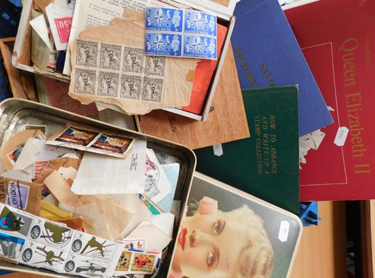 Box of stamps in tins, packets, 1946 Victory album mint sets etc.