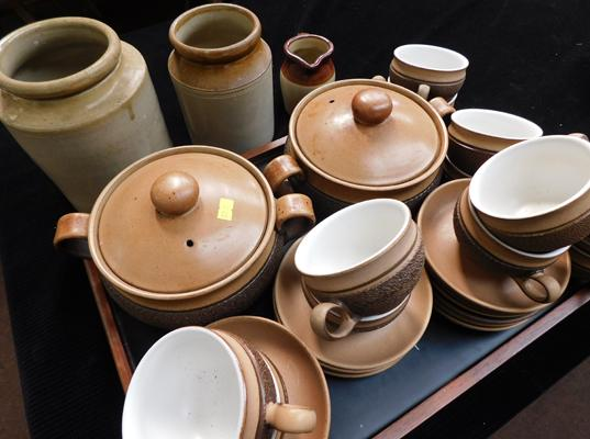 Collection of stoneware, coffee set & pots