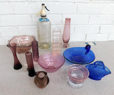 Collection of coloured glass & vintage Thompson & Pearsons of Bradford soda syphon