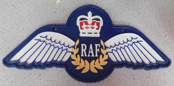 "R.A.F winged cast iron plaque - approx. 14"" wide"