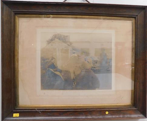 Antique framed photograph, age related wear