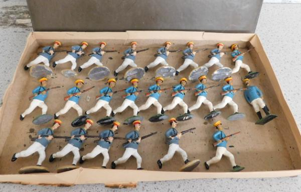 Early steadfast hand painted metal soldiers, Japanese Infantry set 1900-1940 5.4cm 23 pieces