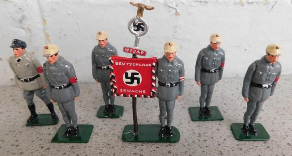 Collection of early steadfast hand painted metal soldiers-Nazi-German storm troup urban set