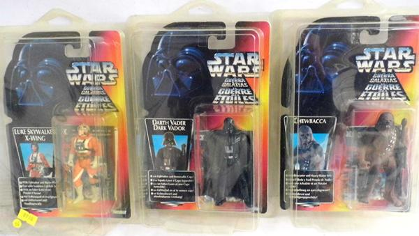 1996 Kenner Star Wars Luke Sky Walker X Wing, Chewbacca, Darth Vader. Mint figures in NM cards some slight creasing on one card, never displayed comes with elusive THX leaflet and Star case style card