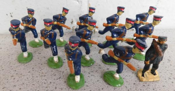 Collection of early steadfast hand painted metal soldiers-Imperial Chinese infantry