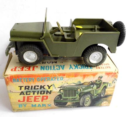 Marx battery operated Tricky Action Jeep in original box. Good condition. No figure