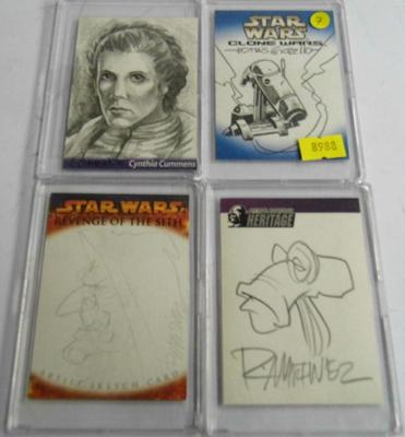 Four Star Wars sketch cards, incl. Cynthia Cummens. Mint condition with 4 good corners, never displayed. 4 cards by comic book artists - 2 by Randy Martinez, 1 by Tomas Giorello and 1 by Cynthia Cummi