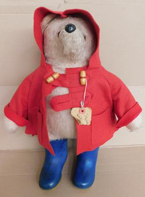 Vinatge 1950s original Gabrielle Paddington Bear, glass eyes, stitched paws & original Dunlop wellies, approx. 20 inches