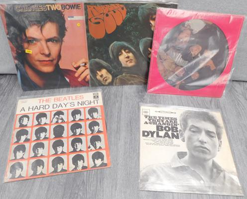 LPs x 5 - Bowie, Rolling Stones, Bob Dylan, 2 x Beatles