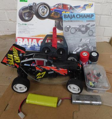 Vintage Tamiya Baja Champ radio control car in original box with controller & spares