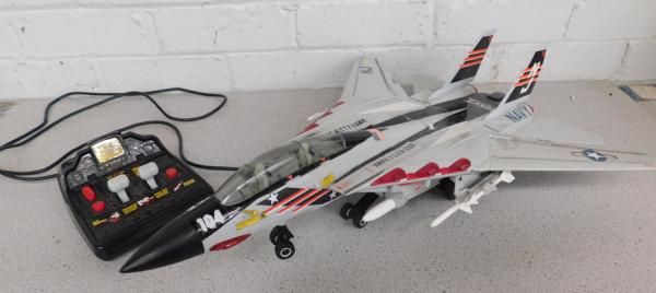 Vintage remote control US Navy Kitty Hawk fighter jet with remote, fully working sound & motion
