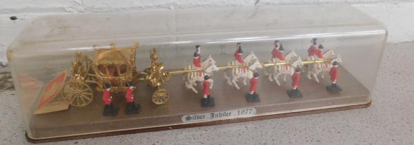 Vintage crescent toys, England, diecast, silver jubilee coach & horses with 12 outriders, 13""