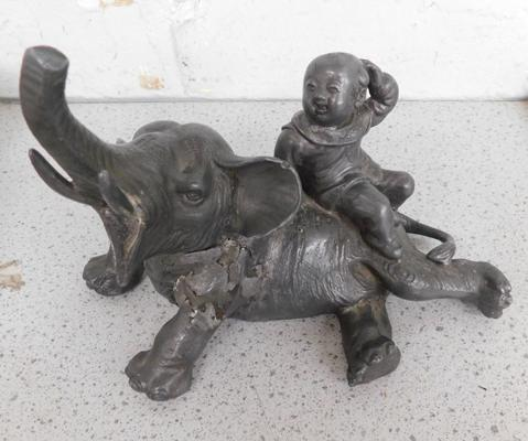 Antique Chinese signed boy on elephant metal figure, circa 1890