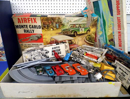 Vintage Airfix Monte Carlo Rally with cars, controls,track and scenic mountain & circuit supports