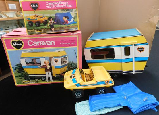 Vintage Sindy camping & caravaning boxed toys