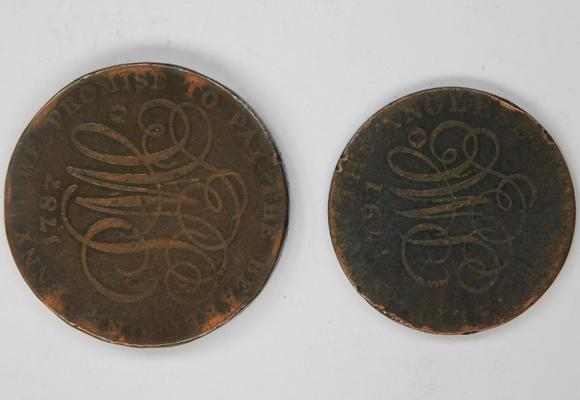 Anglesey Druid 1 penny token 1787, scarce + Anglesey Druid half penny token 1791, scarce