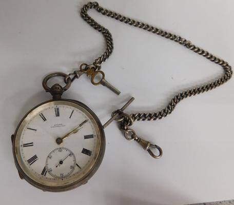 Sutton Whitehaven pocket watch on fob chain with key - markings unreadable