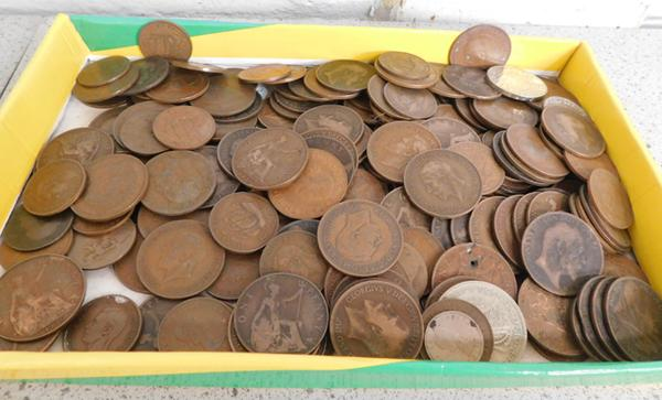 Large assortment of coins