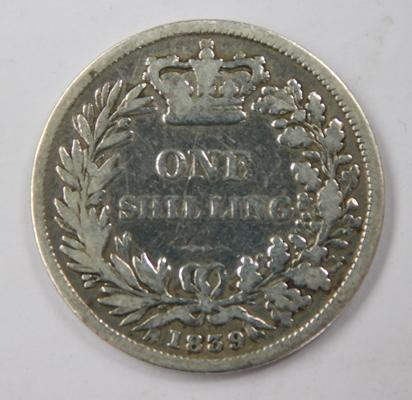 Queen Victoria silver shilling 1839, low mintage, scarce
