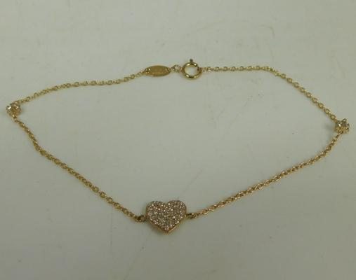 9ct Gold bracelet with heart set with white stones